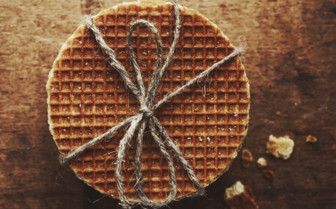 Caramel waffles tied with string