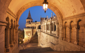 North gate of Fishermans bastion in Budapest