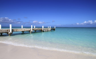 Deck on the beach of Turk and Caicos island
