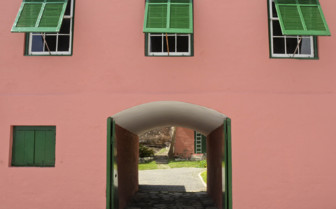 pink and green building Bermuda