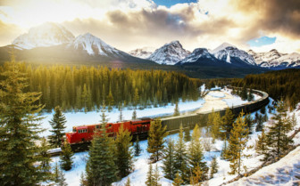 Canadian Pacific Rail Running Through Banff National Park