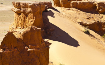 Sandu Dunes and Cliffs in the Gobi Desert