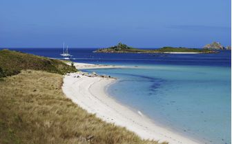 A view of Tresco, one of the five inhabited Scilly Isles