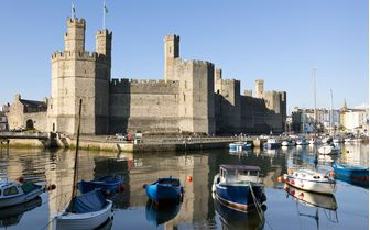 The medieval Caernarfon Castle, Wales