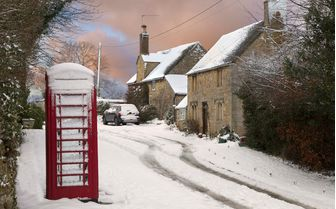 A snowy winter scene in the Cotswold's