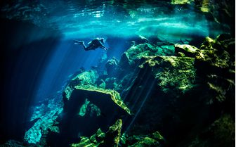 Diving in a Cenote, Mexico