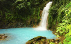 Waterfall and turquoise waters in Guanacaste
