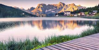 Dolomites with lake