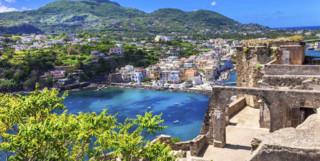 Ruins versus modern view of Ischia