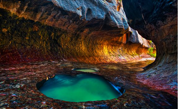 A brightly coloured pool