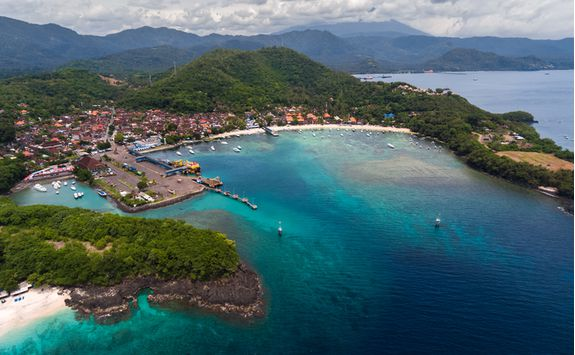 An aerial view of Bali