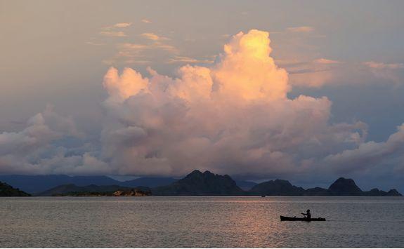 A kayak at sunset in Komodo