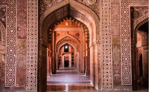 The interior detail in Fatephur Sikri