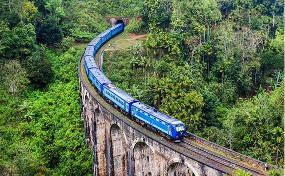 Train going through the tea hills