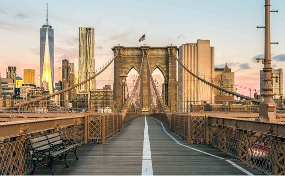 Brooklyn Bridge and view of Manhatten