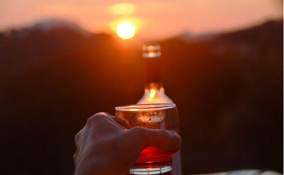 An evening drink at sunset