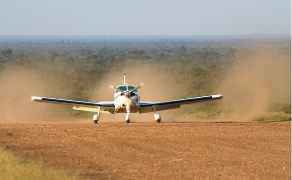 Plane landing in Serengeti National Park