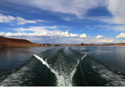 Wake from boat