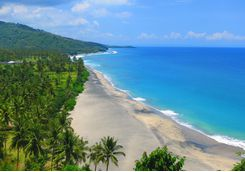 A view from above of Lombok beach