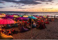 An evening on beanbags on the beach