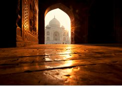 Taj mahal from an archway