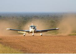 light aircraft landing in katavi