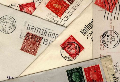 A picture of english stamps on letters