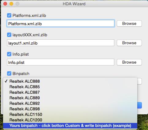HDA Wizard 2 0 - simple tool for patch AppleHDA kext Realtek ALC 885