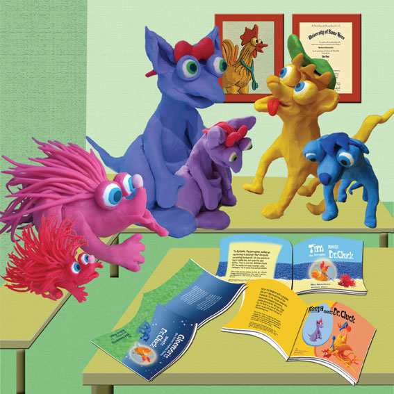 Gloomeris the Serious Laughing Hyena Meets Dr. Cluck. Illustrations – Rotem Omri by Mel Rosenberg - מל רוזנברג - Illustrated by Rotem Omri  - Ourboox.com