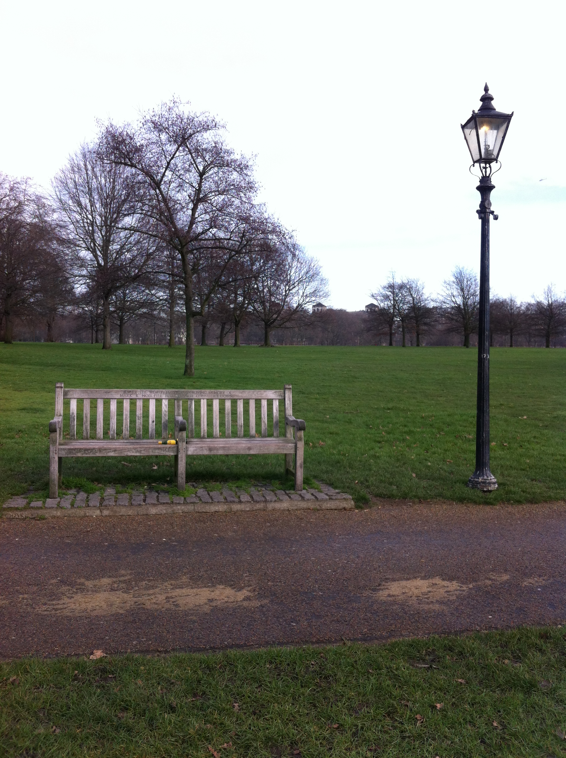 An empty park bench in Hyde Park