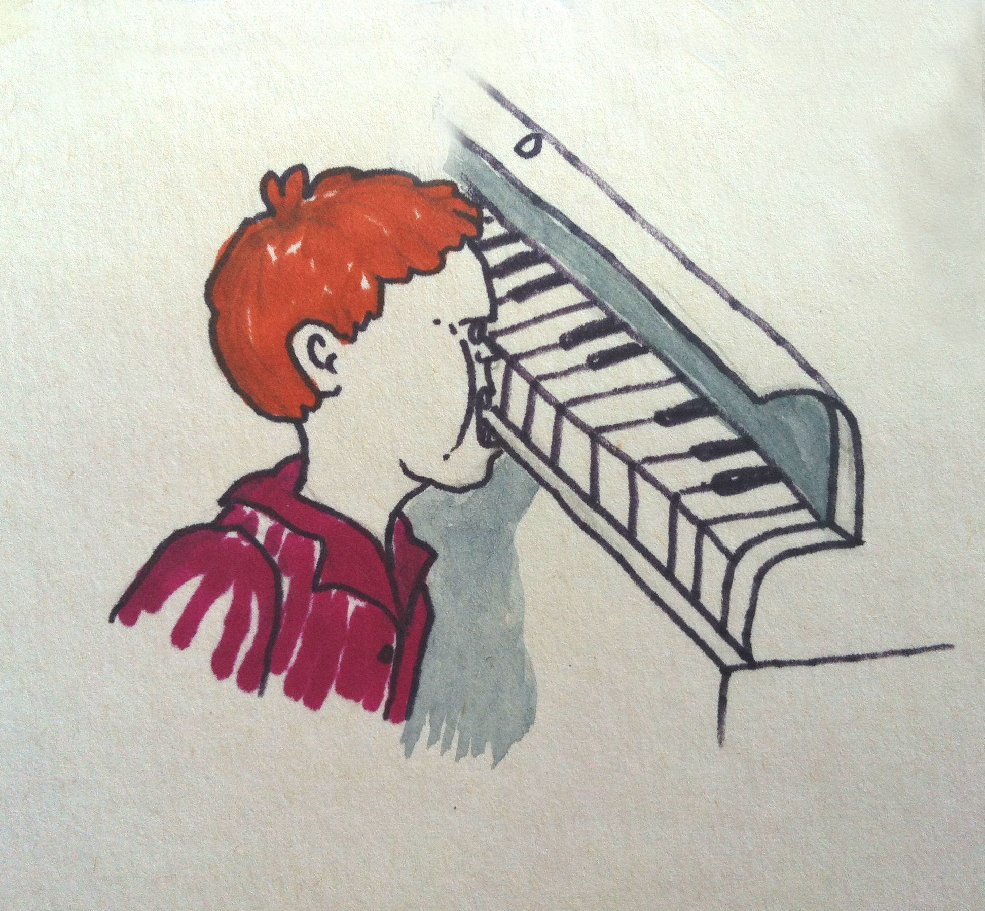 Artwork from the book - Your Piano. Illustrations: Miki Ben-Cnaan by Mel Rosenberg - מל רוזנברג - Illustrated by Miki Ben-Cnaan - Ourboox.com