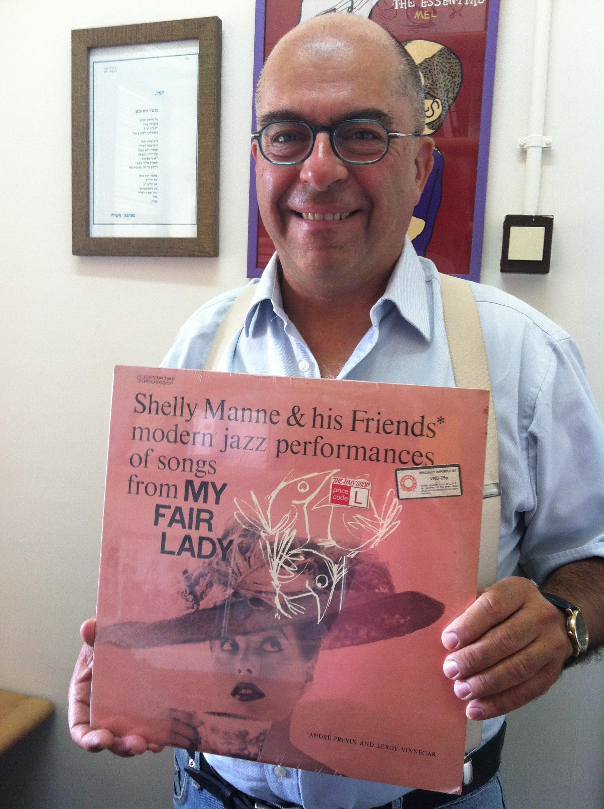 Mel Rosenberg holding the record I bought for Zvi Keren in 1975 (Andre Previn and Shelley Manne)