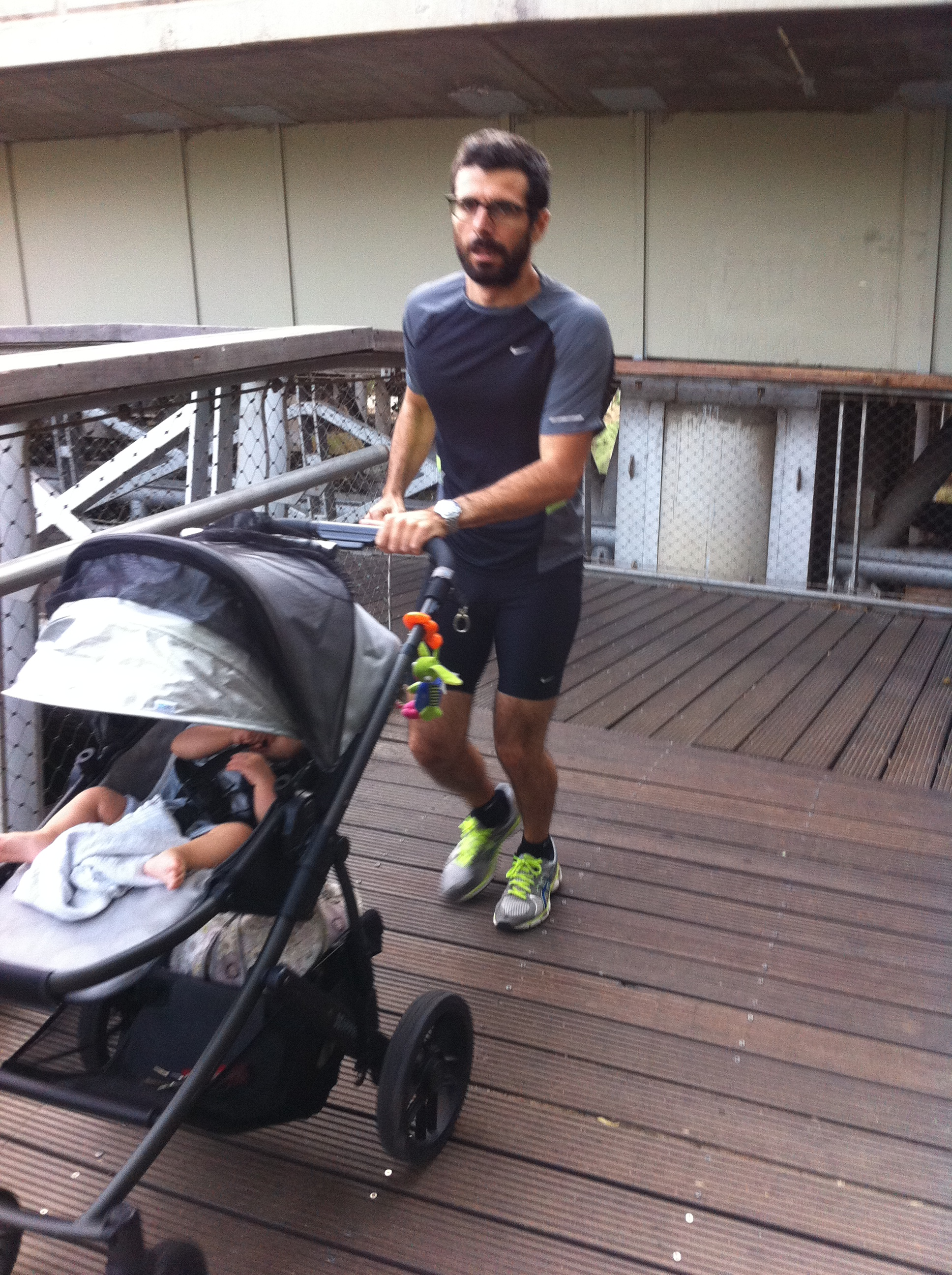 a mad runner with the lethal baby carriage