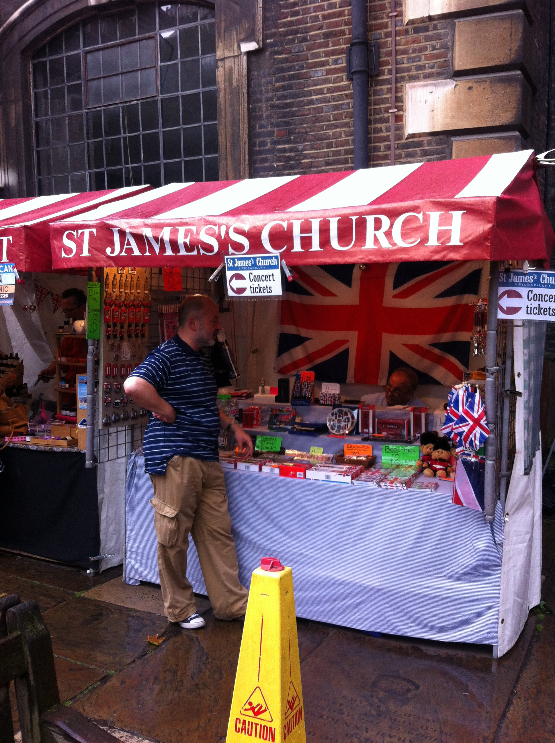 Market stalls in a church