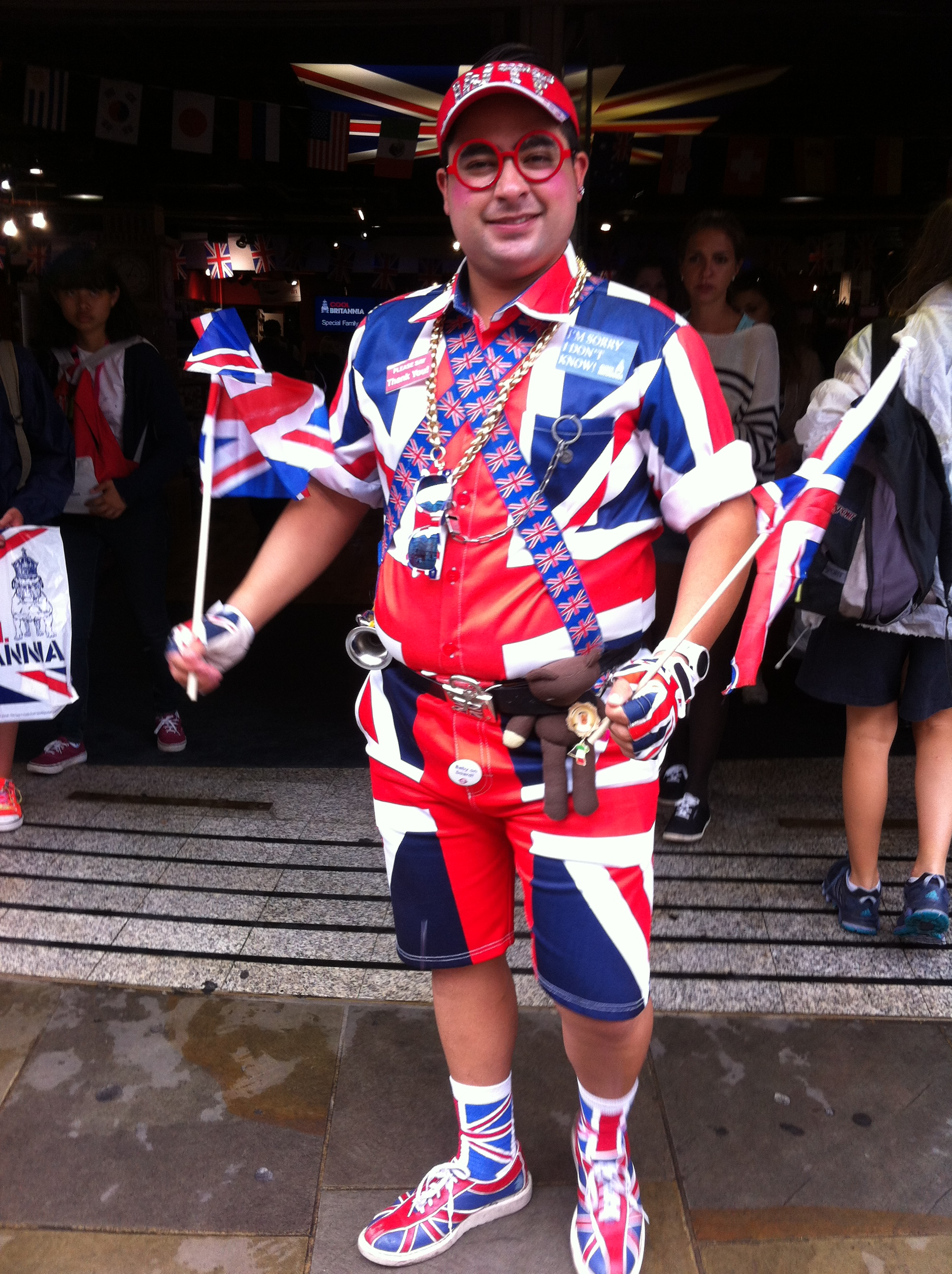 an extremely patriotic guy wearing the British Flag