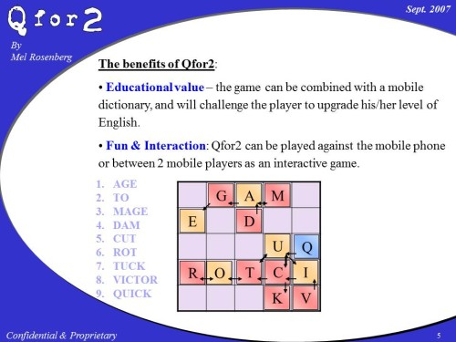 Qfor2 is a word game invented by Mel Rosenberg that was never commercialized