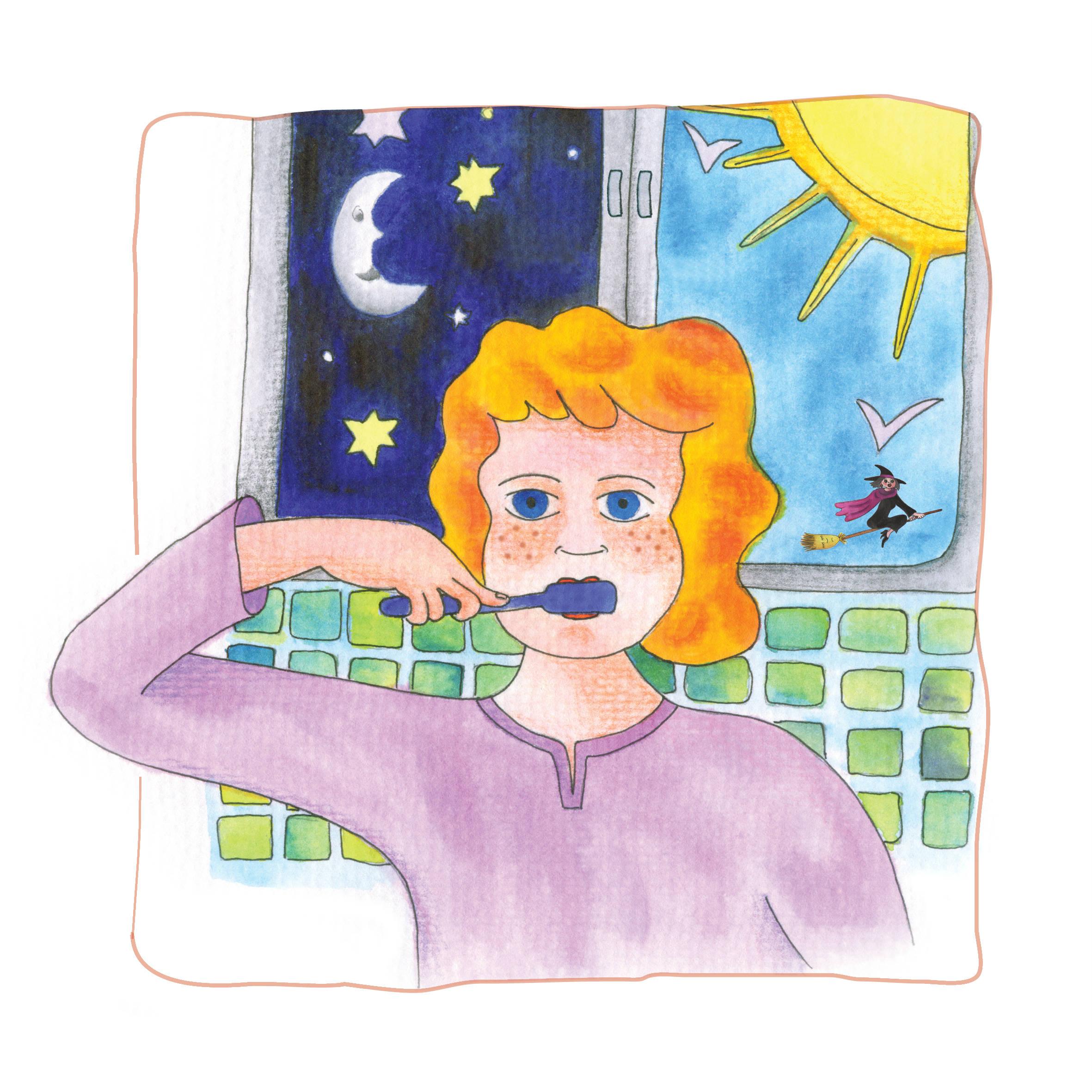 דנה מצחצחת שיניים גם בלילה וגם בבוקר. איירה: טלי ניב-דולינסקי