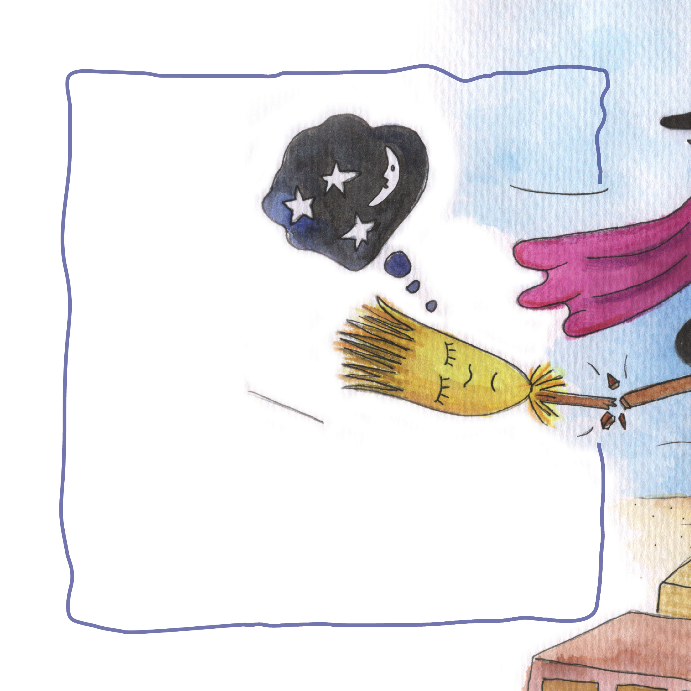המכשפה פניה טסה בשמיים. איירה: טלי ניב-דולינסקי