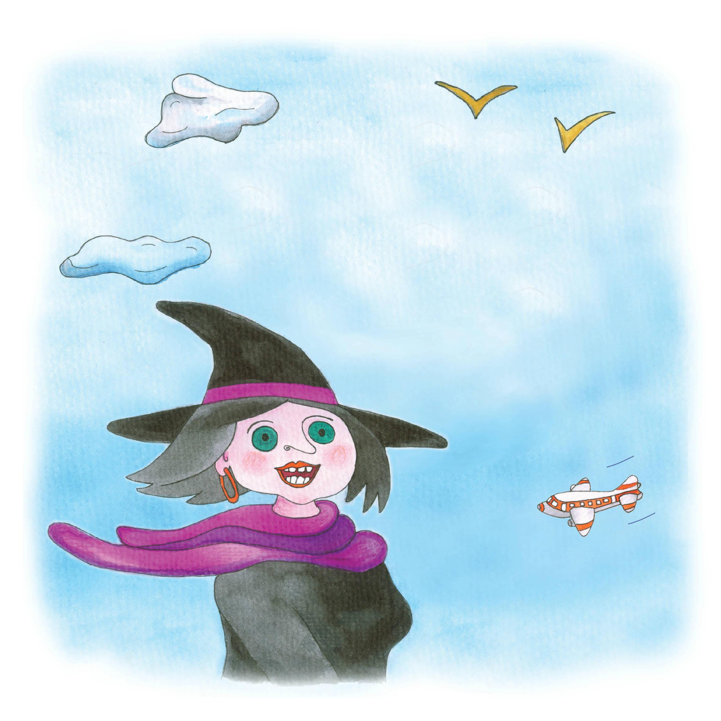 """ואפילו המכשפה פניה הסתכלה יום אחד במראה ועפה לקבוע תור אצל ד""""ר שנדור. איירה: טלי ניב-דולינסקי"""