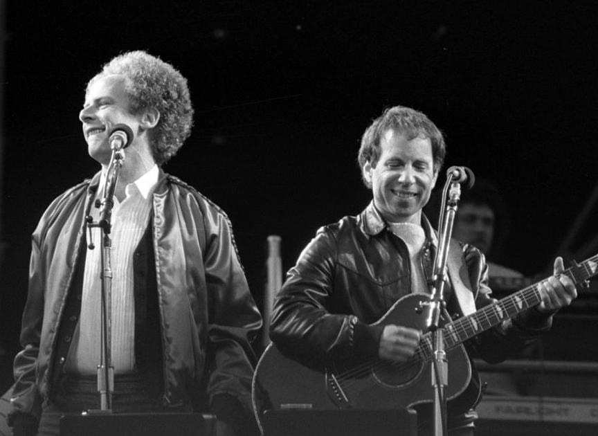 Simon and Garfunkel performing at the Feijenoord Stadion, Rotterdam, the Netherlands in 1982