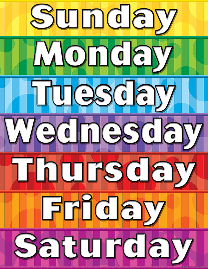picture regarding Printable Days of the Week Chart named totally free printable times of the 7 days chart - Sinma