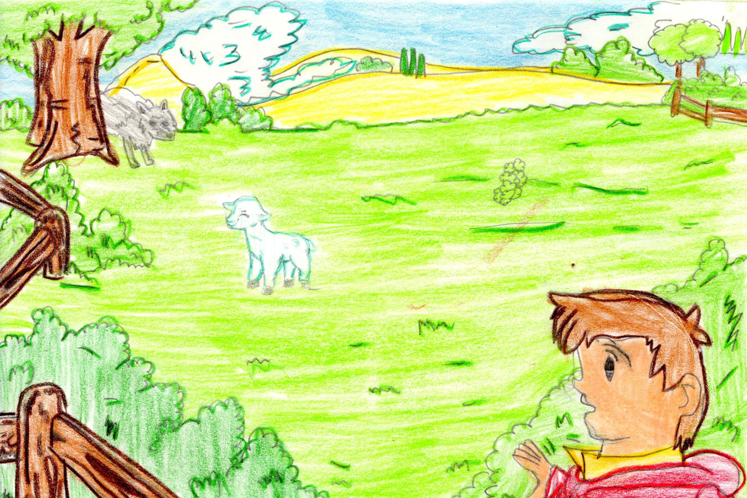 Artwork from the book - THE BOY AND THE WOLF by maria concetta marinelli - Illustrated by Maria Concetta Marinelli- Gina Tullo - Ourboox.com