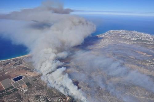 מבט מן האוויר על ממדי השריפה