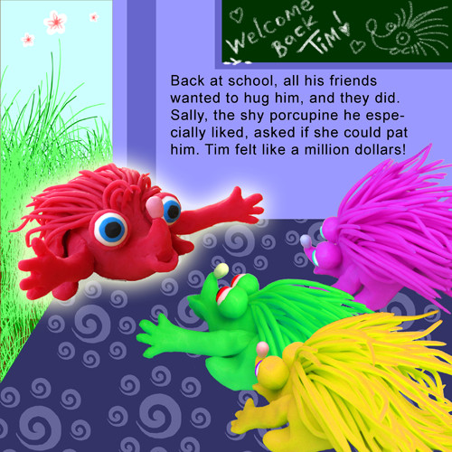 Artwork from the book - Tim the Porcupine – – النيص محروس – Arabic Version by Dr. Said Elwardi - سعيد الوردي - Illustrated by Illustrated by Rotem Omri and Translated by Fatma Ghader - Ourboox.com