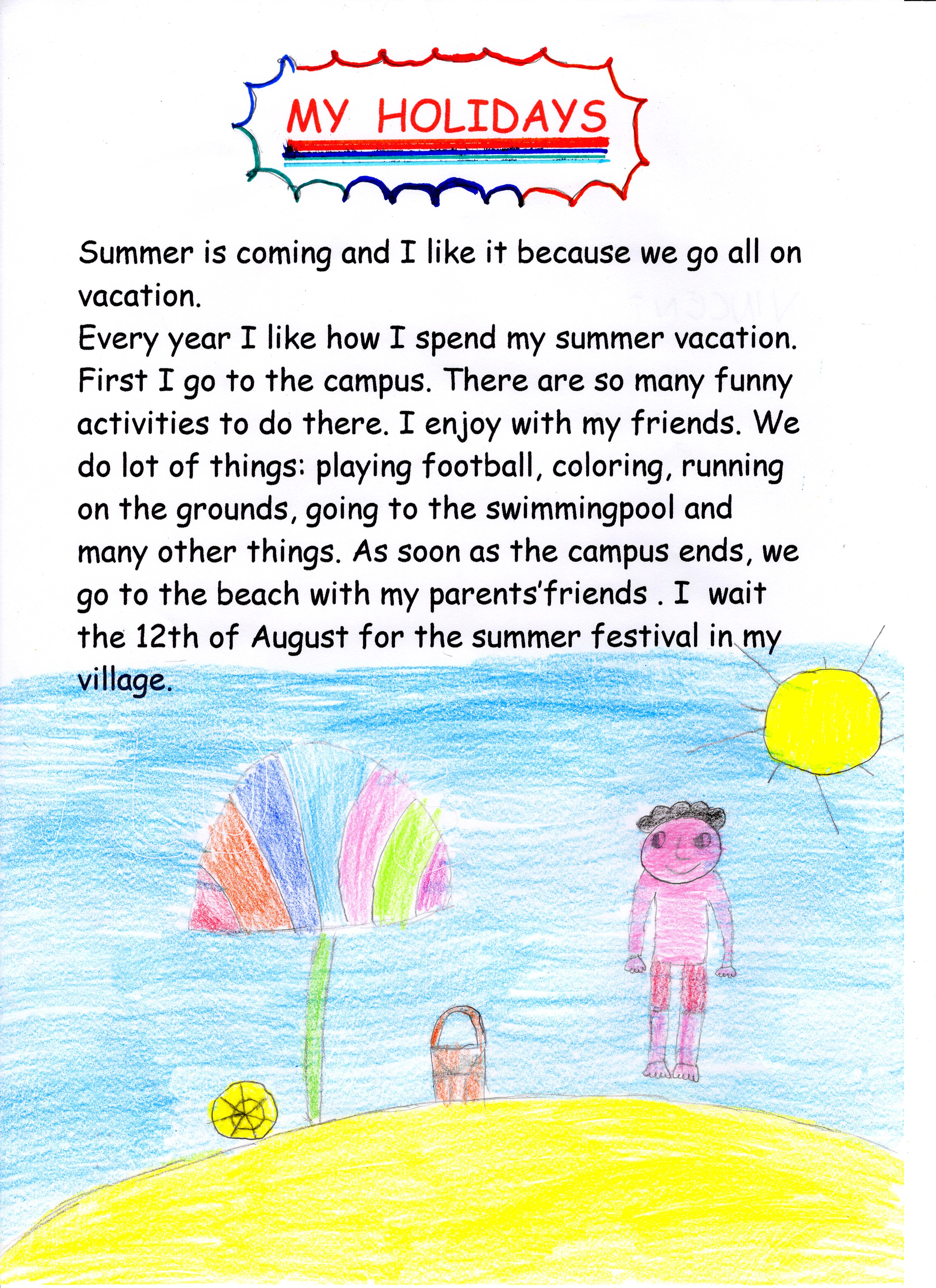 Artwork from the book - SUMMER HOLIDAYS by gina tullo - Illustrated by TEACHERS: Tullo Gina - Marinelli Maria Concetta - Ourboox.com