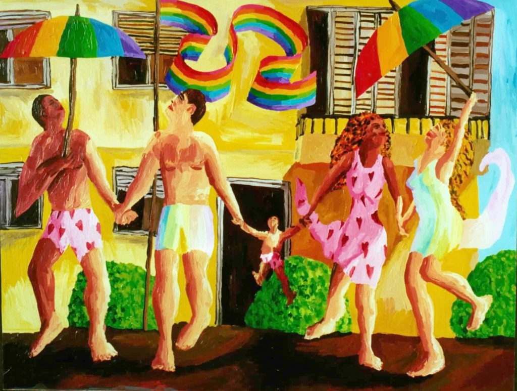 gay family paintings queer art painting lgbt artist raphael perez