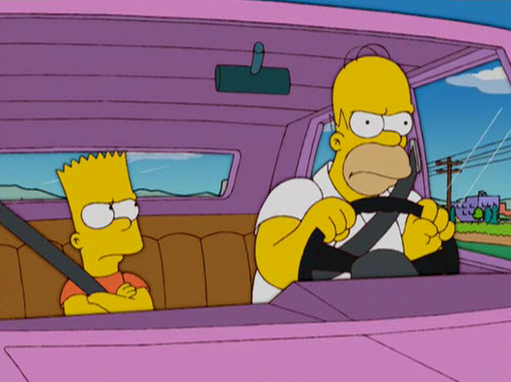Artwork from the book - The Simpsons Stories: Homer And Bart Vacuum The Car by Darcy May Partridge - Ourboox.com