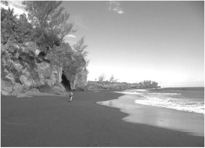 "This is a black sand beach called "" Ti sable"". C"