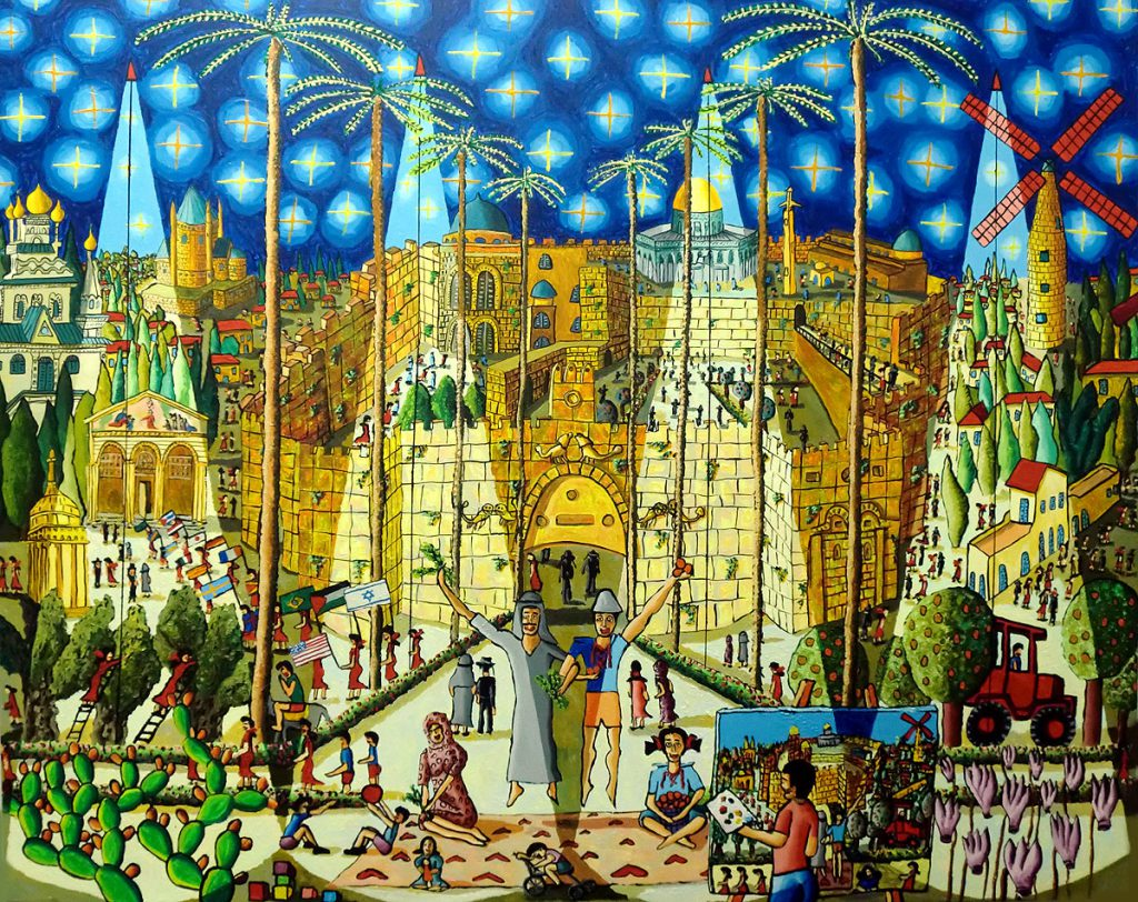 jerusalem city painting naive art painter raphael perez