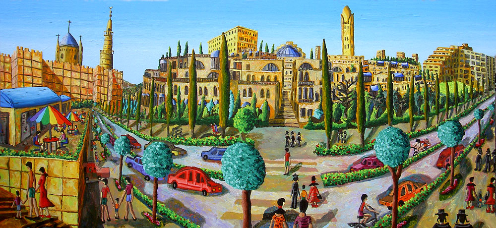 The mamila courtyards The Tower of David and the walls of the Old City of Jerusalem naive painting